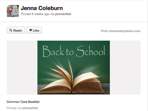 Pinterest Common Core  Board for Back to School
