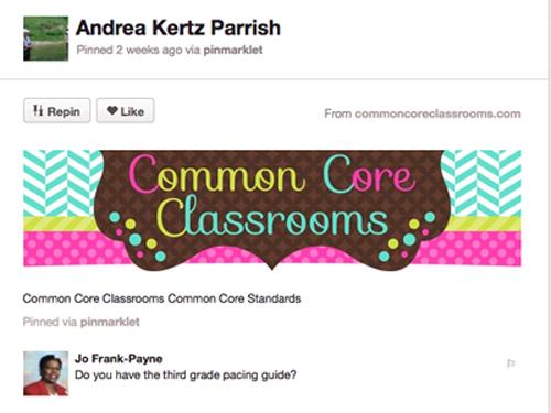 Pinterest Common Core Classroom Board