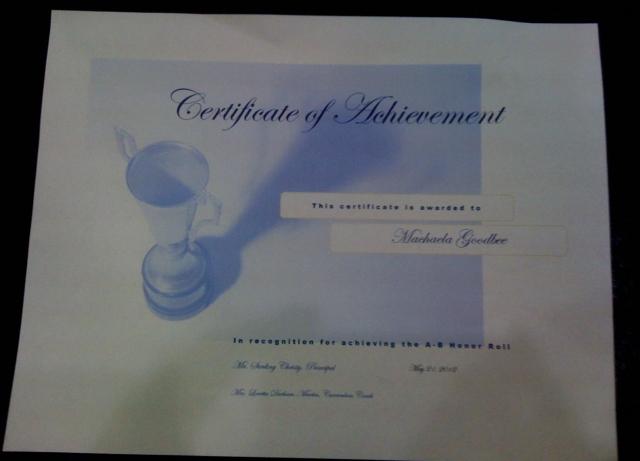 Machaela's certificate