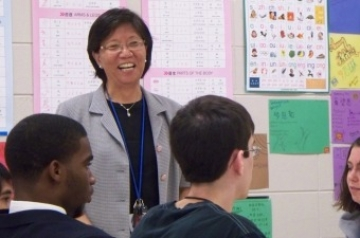 Yun-Ching Lin teaches Chinese at Savannah's Johnson High School.  (photo Orlando Montoya)