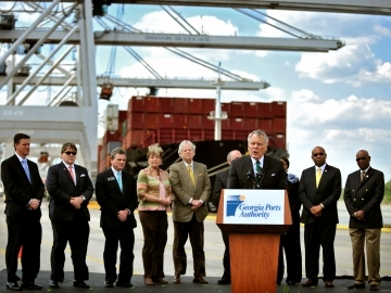 Governor Nathan Deal and other dignitaries stress the importance of the Savannah harbor deepening project at the Georgia Ports Authority terminal on the Savannah River.  (photo Georgia Ports Authority)
