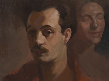 Poet Kahlil Gibran is pictured in this self-portrait.  The artist's work is the subject of an exhibit at Savannah's Telfair Museum of Art.  (photo Telfair Museum of Art)