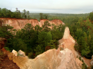 Providence Canyon displays 43 different colors. But it's not a completely natural formation. Loose soil and early farmers' poor soil conservation techniques created the canyon. (Photo Courtesy of Georgia Outdoors.)