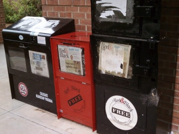 UGA students no longer find a daily copy of the Red & Black student newspaper in these racks near the Tate Student Center on Campus. The paper has ditched a daily newsprint edition for an online-first strategy. There's still a weekly printed copy on Thursdays. And students now also produce a monthly magazine with more in-depth stories. (Photo by Joshua Stewart.)