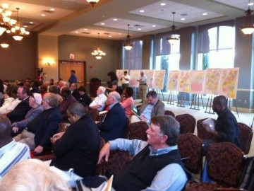 The state redistricting process included a series of public meetings like this one in Augusta where residents voiced their concerns.  City and county redistricting may be much more informal.  Local leaders must, however, approve their new political boundaries in open meetings.  (photo Noel Brown)