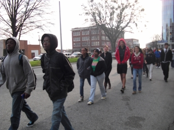 High school students in Macon protesting Macon Miracle (GPB file photo)