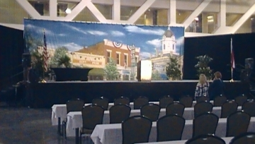 Room being prepared for tourism conference in Macon (photo Josephine Bennett)