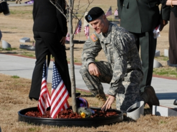 The Army post planted a memorial tree in honor of Sgt. Johnny W. Lumpkin at Warriors Walk. (photo courtesy of United States Army)
