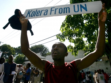 Haitians protest against the United Nations peacekeepers  in Port-au-Prince back in November 2010.