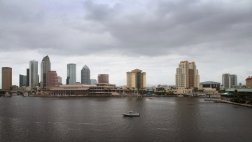 A police boat patrols the waterways in the downtown area Monday in Tampa, Fla., site of the Republican National Convention.