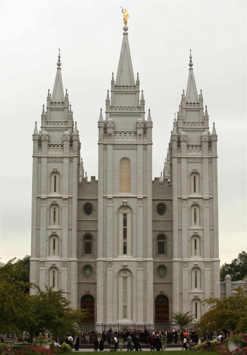 The Mormon Salt Lake temple in Salt Lake City, Utah.