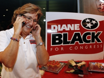 Rep. Diane Black, R-Tenn., shown here at a victory party after defeating Lou Ann Zelenik in the GOP primary, found herself on the defensive after being called soft on Shariah law.
