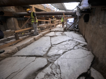 Officials unveiled an ancient road found during construction of Thessaloniki's new subway system Monday.