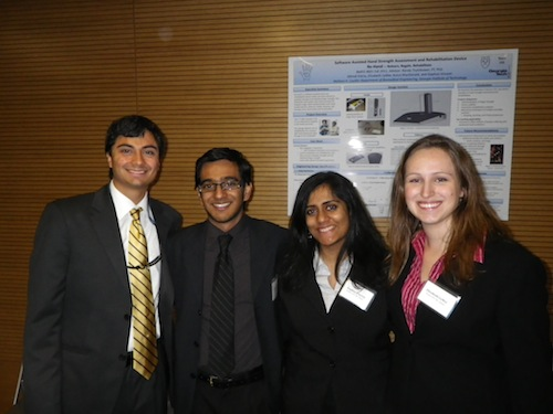 <em>Alkindi Dibria (far left), Kunal MacDonald (middle left), Daphne Vincent (middle right), and Elizabeth LeMar (far right).</em><br />