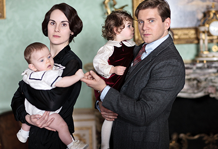 Lady Mary and baby George and Tom and baby Sybbie