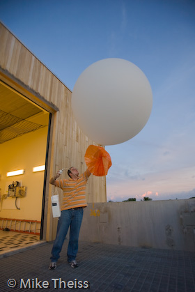 Meteorologist poised with balloon