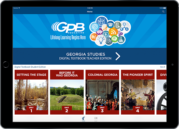 GPB Education App opened in iPad