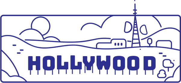 Hollywood sign cartoon sketch