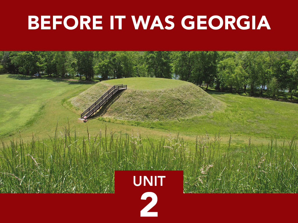 Title card and photo of ancient Indian mounds