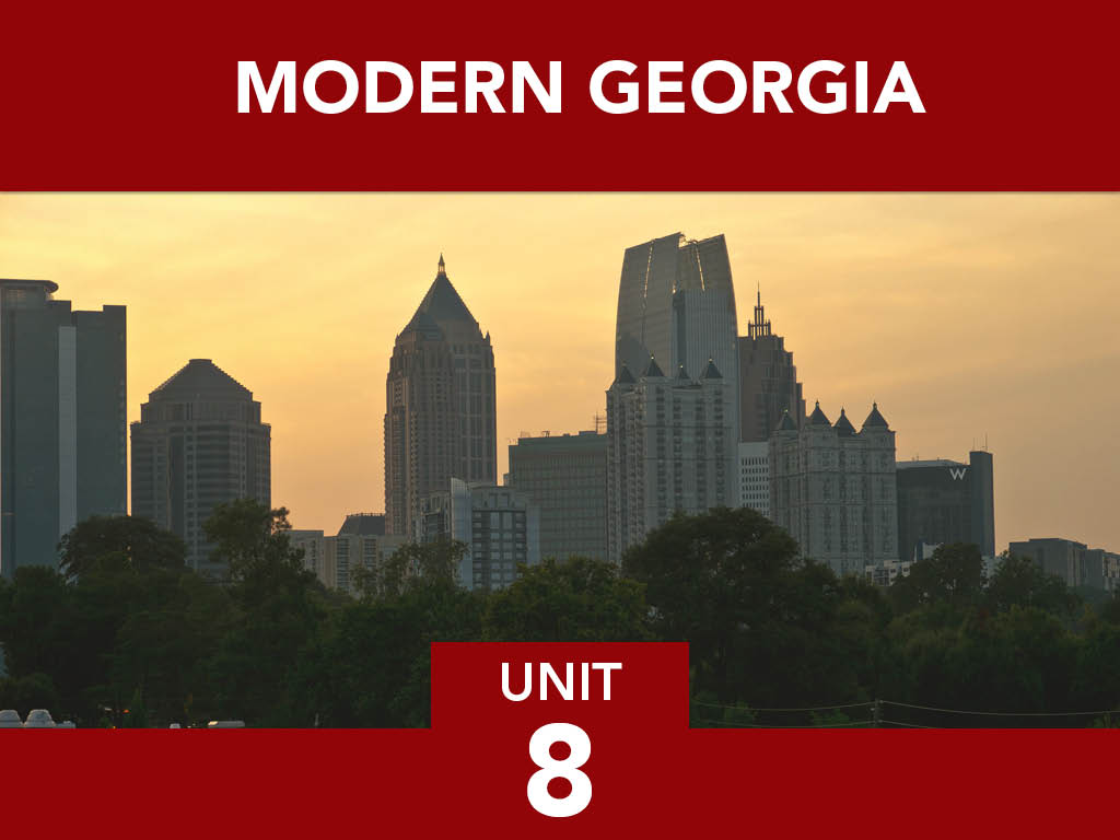 Title card and photo of modern Atlanta city skyline