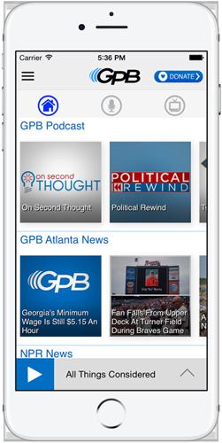 GPB Radio app opened in iPhone