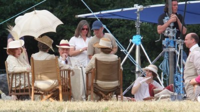 The Levinsons preside over a Downton garden party.