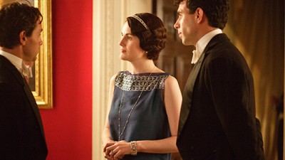 Awkward! Lady Mary entertains Blake and Gillingham together. Image courtesy Nick Briggs/Carnival Film & Television Limited 2013