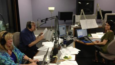 GPB Radio control room in the thick of a drive.  Left to right: Pat Marcus, Eric Nauert, Sarah Zaslaw.