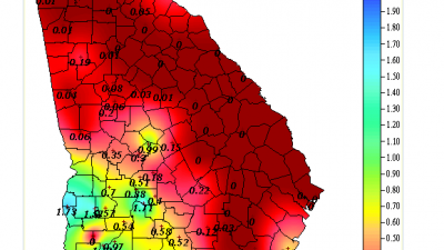 The total amount of rainfall from 12am through 9pm on Sunday, September 4th.  Image courtesy of GeorgiaWeather.net