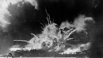 Dec. 7, 1941: The USS Shaw explodes during the Japanese attack on Pearl Harbor.