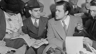 Orson Welles Explaining Radio Broadcast at Press Conference, October 31, 1938. (Courtesy PBS.)