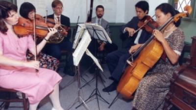 Of the six friends of the couple playing at this wedding, only two make their living as instrumentalists. (Photo: Jon Reis.)