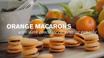 Orange Macaron with Dark Chocolate Ganache