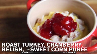 Baby Thanksgiving: Corn Purée, Cranberry & Turkey