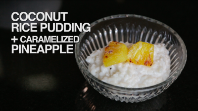 Coconut Rice Pudding with Caramelized Pineapple