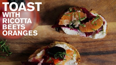 Toast with Ricotta, Beets, and Oranges