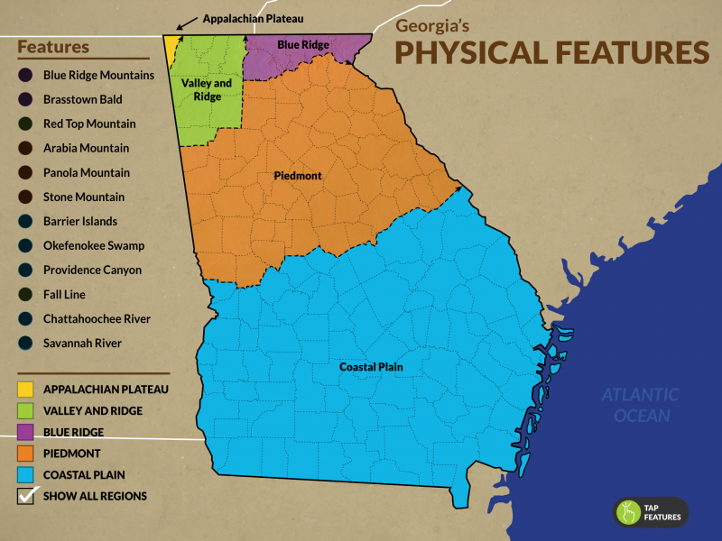 New virtual field trip physical features of georgia georgia the physical features of georgia addresses standards ss8g1 and ss8e1 for 8th grade georgia studies and ss2g1 for 2nd grade social studies gumiabroncs Images