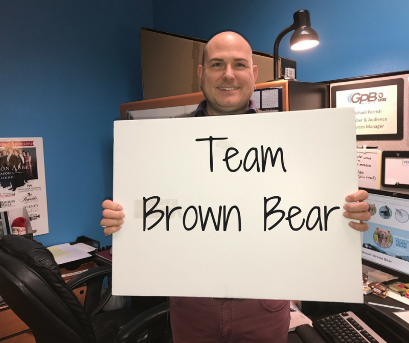Michael Parrish, Member and Audience Services Manager, received the brown bear designation.