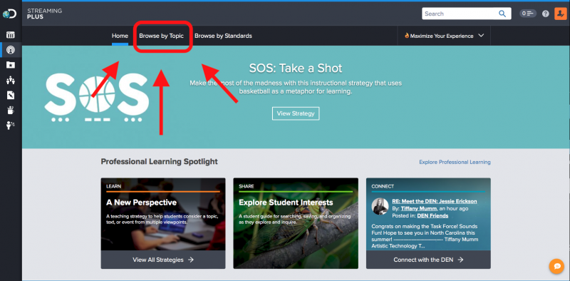 Screen shot of Discovery Education Streaming Plus page