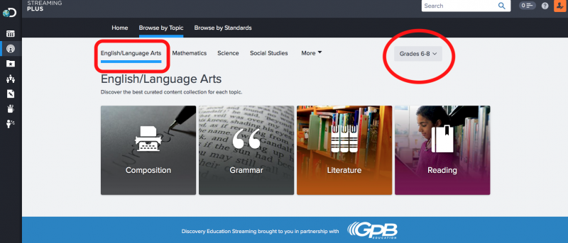 Choose your content area and grade level