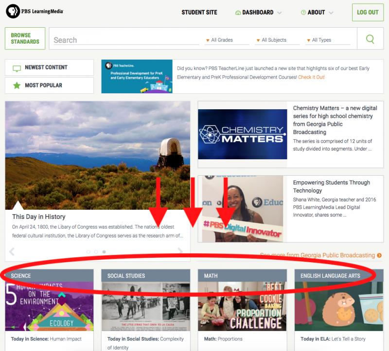 PBS LearningMedia Homepage