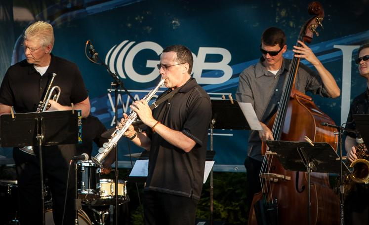 Dr. John Wojcik, Dr. Rob Foster and Travis Shaw with the AU Jazz Ensemble