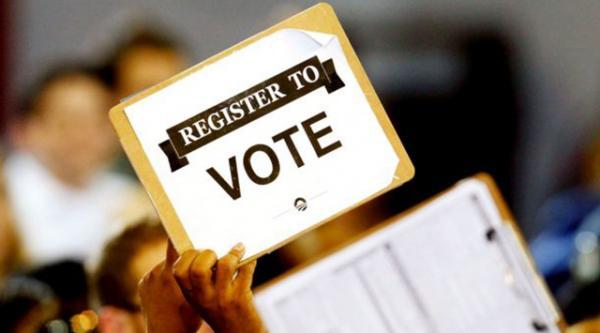 Voter Registration sign.