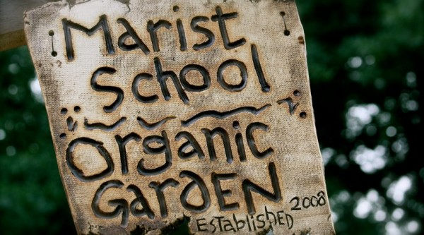 Sign for Marist School's Organic Garden in Atlanta, Georgia.  (Photo: Marist School Organic Garden's Facebook page)