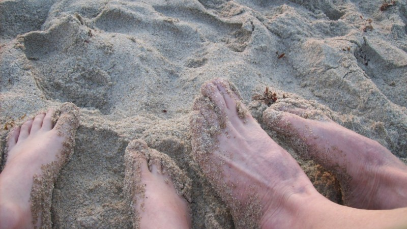 A tender memory of feet in the sand with my son!