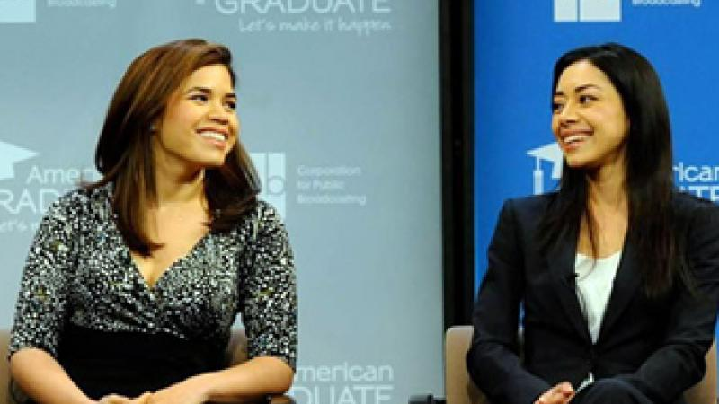 Actresses America Ferrera (l) and Aimee Garcia speak about the value of their high school education.