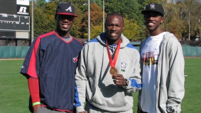 CJ Stewart with Jason Heyward of the Atlanta Braves & Dexter Fowler of the Colorado Rockies