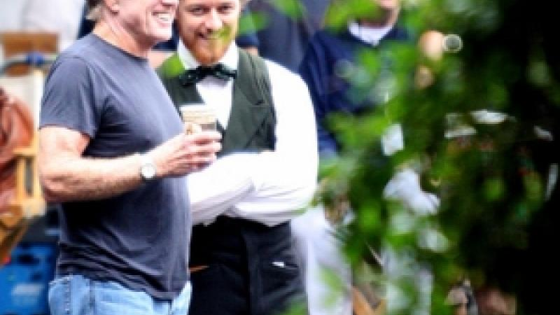 """Robert Redford and James McAvoy on the Savannah set of """"The Conspirator."""" (photo courtesy Steve Edwards)"""