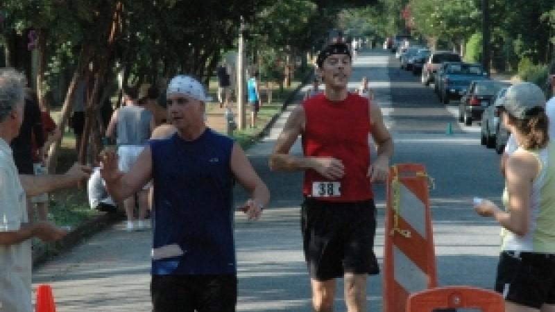 "Runners kick off the annual ""B*ATL"" -- Atlanta's Battle of Atlanta festival -- in the Kirkwood neighborhood of Atlanta."