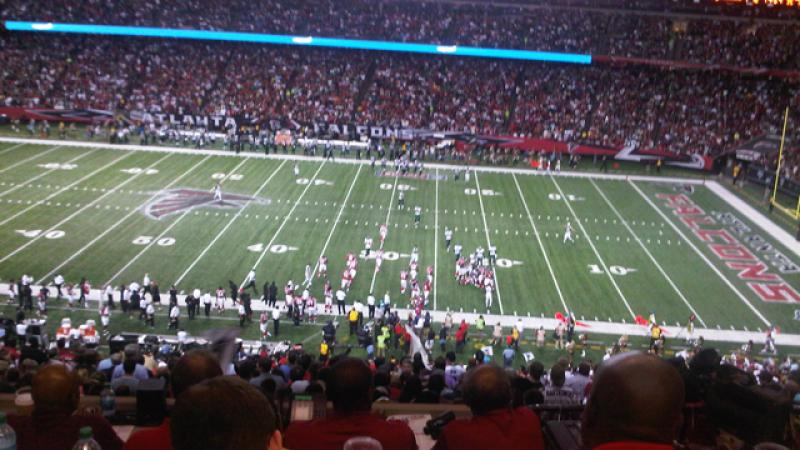 View from the press box during the Falcons versus Eagles game.